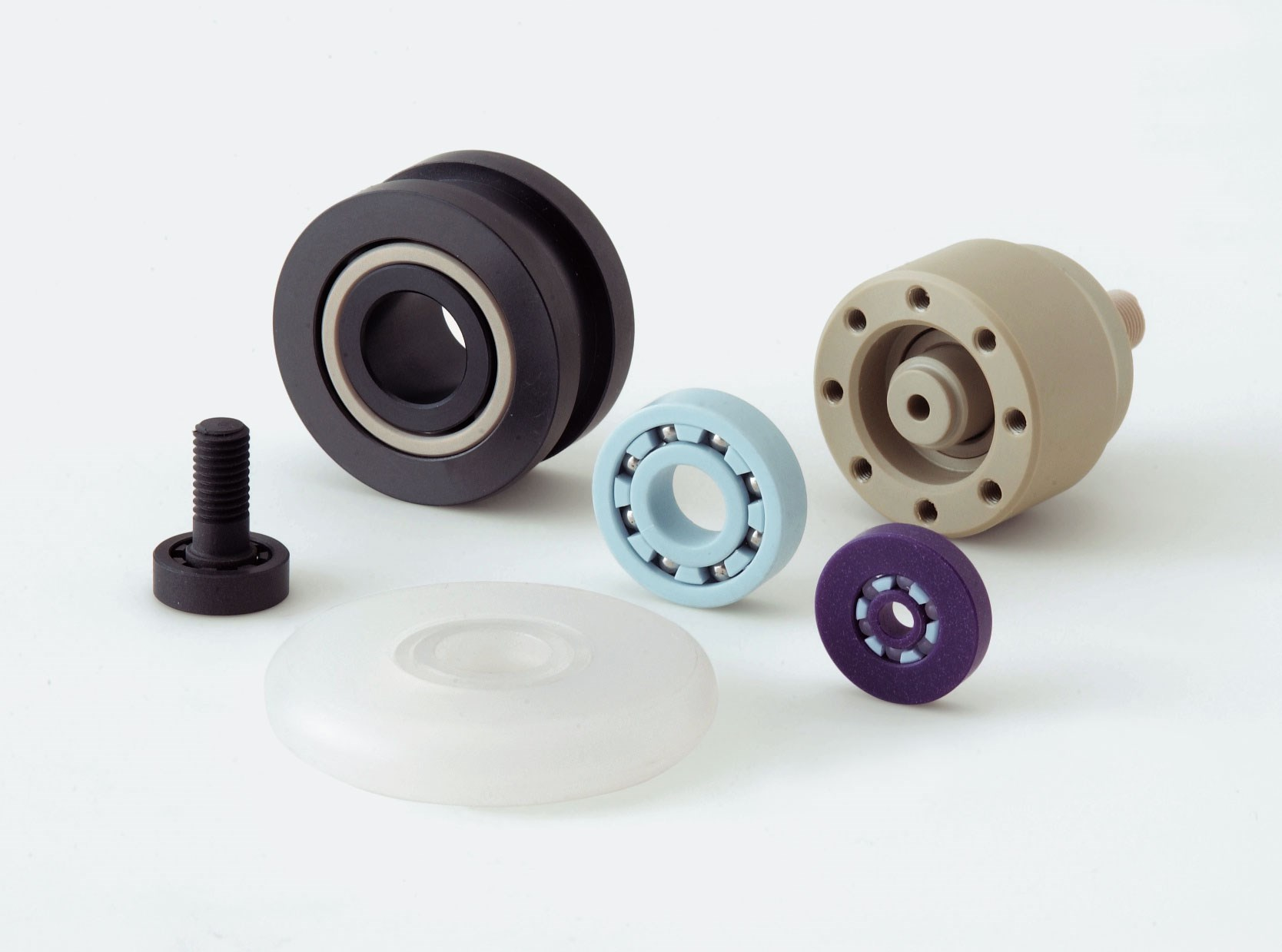 Different types of plastic bearings.