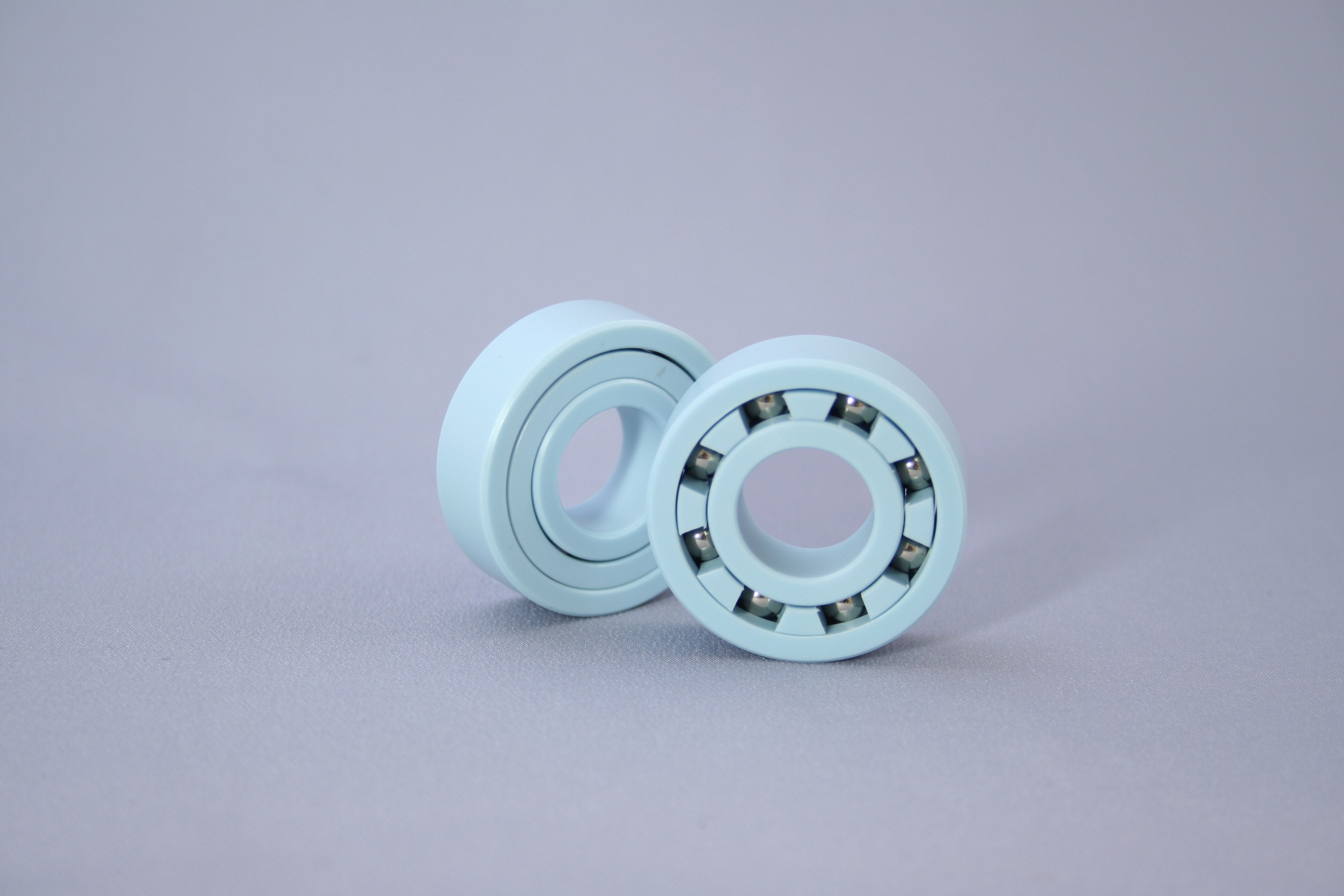 Plastic bearings used in a variety of applications.